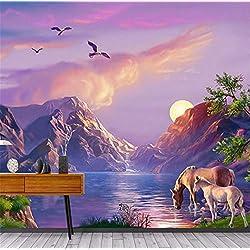 GBHL Moderno Foto 3D Personalizado Impermeable Mural Papel pintado Pintura al óleo Paisaje natural Caballo Para la sala de estar Dormitorio Decoración Habitación, 400x280 cm (157.5 por 110.2 in)