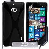 Yousave Accessories Coque Nokia Lumia 930 Etui Noir Silicone Gel X-Ligne Housse Avec Chargeur De Voiture