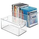 mDesign Juego de 2 cajas organizadoras para DVD, CD y videojuegos - Práctica caja para DVD con asa, fácil de transportar - Caja de plástico porta DVD para películas o juegos de consola - transparente