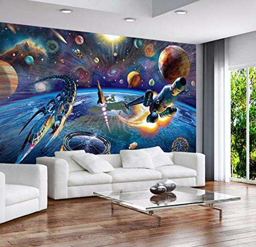 WH-PORP 3D Tapete Weltraum-Universum-Raumschiff-3D Karikatur-Tapeten-Wandbild Für Baby-Kind-Raum 3D Wandpapier 3D Wand-Dekor-200Cmx140Cm