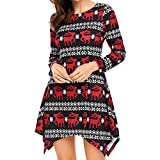 Strung Women Xmas Christmas Dress Long Sleeve Santa Outfit Christmas Cozy Flared Dress