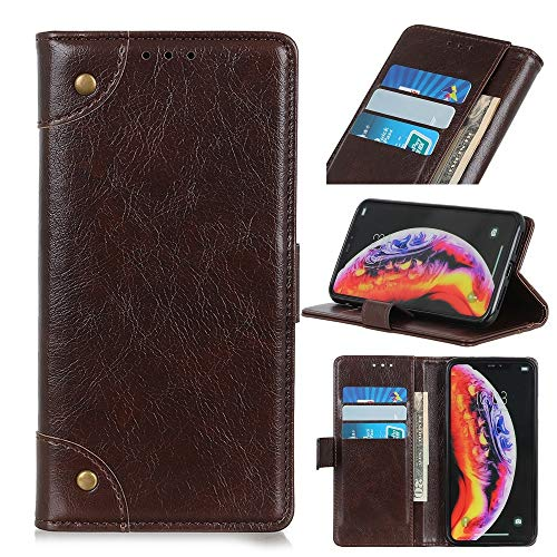 Protégez votre téléphone portable Etui à rabat horizontal en cuir avec boucle de cuivre et texture nappa pour Galaxy A40, avec support et emplacements pour cartes et porte-monnaie pour Samsung télépho