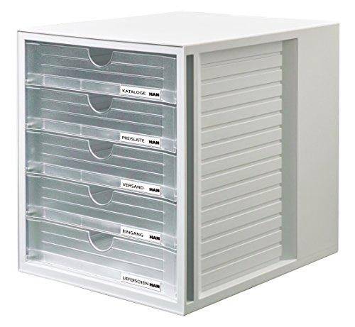HAN Schubladenbox SYSTEMBOX 1450-63 in Lichtgrau/Transluzent-Klar – Ordnungsbox DIN A4 – Aufbewahrungsbox mit geschlossenen Schubladen