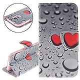 ISAKEN Compatibile con Samsung Galaxy S5 Mini Custodia, Creative Libro Portafoglio Custodia PU Cuoio Leather Cover Flip Rigida Wallet Copertina Wallet Caso con Funzione di Supporto - Cuore Rossa