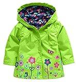 QZBAOSHU 2-6 Anni Bambino Giacca Impermeabile con Cappuccio Outwear Pioggia Cappotto delle Bambine e Ragazze (130: misura per altezza 110-120 cm, Verde)