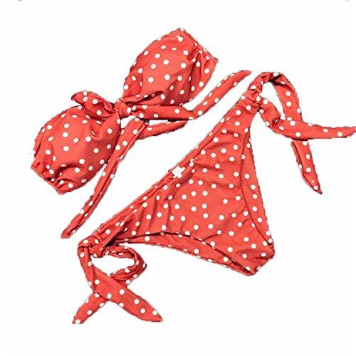 Cute Polka Dot Thong Bikini Sexy Bandeau Brazilian Bikini Set 2018 Bow Swimwear Halter Push up Swimsuit Beach Bathing Suit May Pink M (Polka Pattern Dot Bow)
