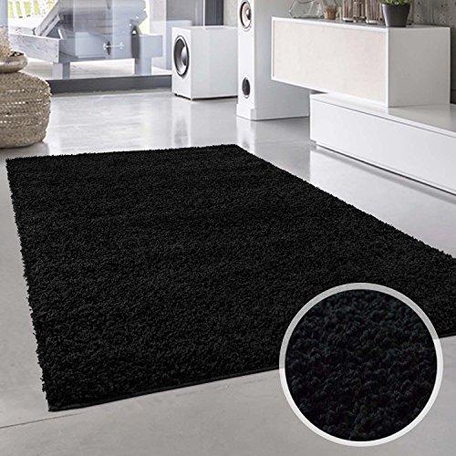 Plain Shaggy alfombra Plain negro redondo y rectangular Oeko Tex diversos tamaños, polipropileno, negro, 80 cm_x_150 cm