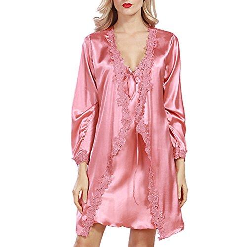 Zhhlaixing Women's Elegant Knee Length Nightgown Robe Set pink