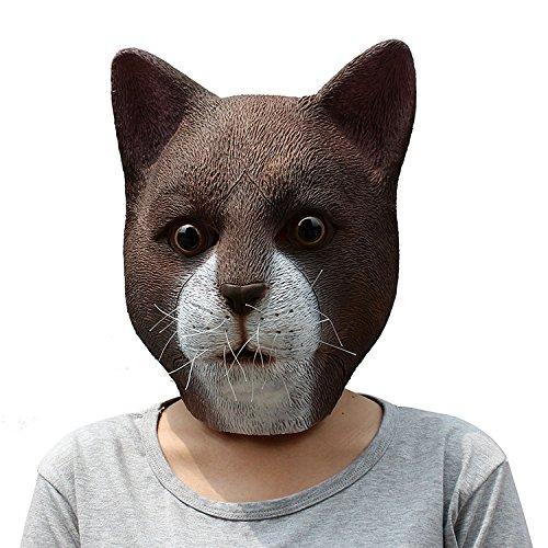 Unbekannt Halloween Requisiten Schwarze Katze Maske Naturlatex Tier Maske Kostüm Cos Kopfbedeckungen (Farbe : A) (Schwarze Katze Halloween Handwerk)