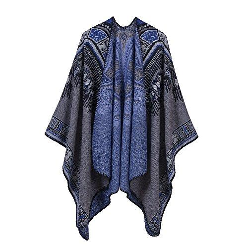 DAMILY Frauen Abstrakte Poncho-weiche Kuscheldecke-warmer Schal-Winter-Pullover (Grau)