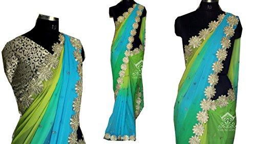 Sarees ( Multi Color Georgette Padding Fabric Multi & Handwork Saree, New...