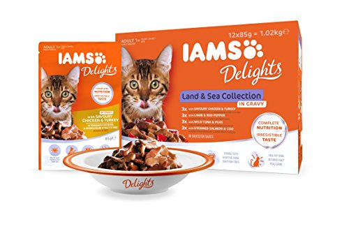 IAMS Delights Wet Food Land and Sea Collection for Adult Cats with Meat and Fish in Jelly, 12 x 85 g 6