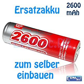 2600 mAh Ersatzakku für Braun Vitality Precision Battery Oral-B 3D NiMH 49mm 3737 4713 4716 4728 Akku Battery inkl. Anleitung