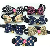 7-TLG Weihnachten Verstellbare Choker-Halskette Für Katzen, Welpen Oder Hunde - Verziert Mit Einer Fliege Und Einer Glocke