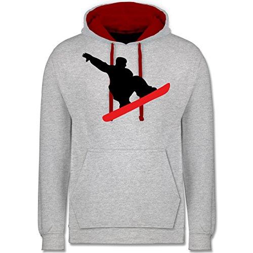 Wintersport - Snowboard Sprung Trick - Kontrast Hoodie Grau Meliert/Rot