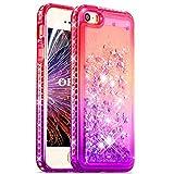 OKZone Coque iPhone 5/5S/SE[avec Film de Protection écran HD] Brillante Cristal Diamant Liquide 3D Sables Mouvant TPU Gel Silicone Bumper Coques Housse pour Apple iPhone 5/5S/SE (Rose Violet)