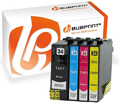4 Bubprint Druckerpatronen kompatibel für Epson T3471 XL T3472 T3473 T3474 34XL 34 XL black WorkForce Pro WF-3720DW WF-3720DWF WF-3725DWF Multipack Set