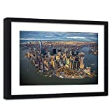 Feeby Wandbild Schwarzem Rahmen New York City Bilder Manhattan Stadt bunt 60x40 cm