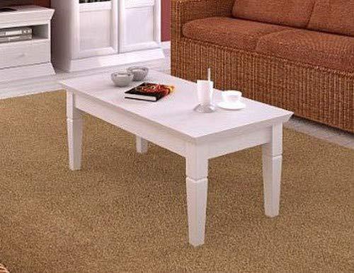 casamia Couchtisch rechteckig 120 x 60 cm mit Fester Platte, Pinie massiv Farbe Pinie weiß gekälkt