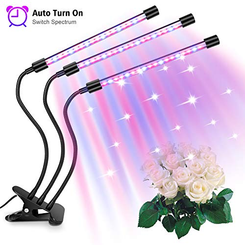 Zubita Lámpara de Plantas Interior - 30W 60LEDS Tres Cabezas LED de IP65 Led Lámpara de Plantas ajustable de 360 grados para verduras, Frutas Creciente