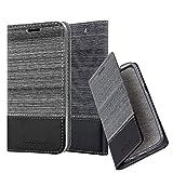 Cadorabo Hülle für Sony Xperia C4 - Hülle in GRAU SCHWARZ - Handyhülle mit Standfunktion & Kartenfach im Stoff Design - Case Cover Schutzhülle Etui Tasche Book