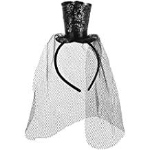 BESTOYARD Mini Sombrero de Copa con Diadema con Redecilla Desmontable  Sombreros para Dama Mujer (Negro f85bd235e45