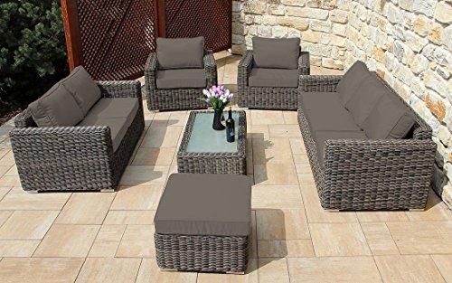Baidani Garten Lounge Garnitur Rundrattan, Escape Select, taupe, 190 x 148 x 60 cm, 13a00006.
