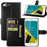 Funda Vodafone Smart Ultra 6, HualuBro [Protección Todo Alrededor] Premium PU Cuero Leather Billetera Wallet Carcasa Case Flip Cover para Vodafone Smart Ultra 6 Smartphone (Negro)