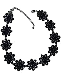 Streamline Women's Generic Black Alloy & Lace Choker Necklace For Girls