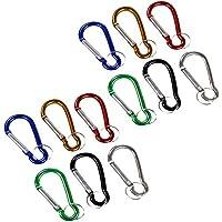 com-four® Karabiner Set Mini Karabinerhaken mit Schlüsselring in 6 (12 Stück)