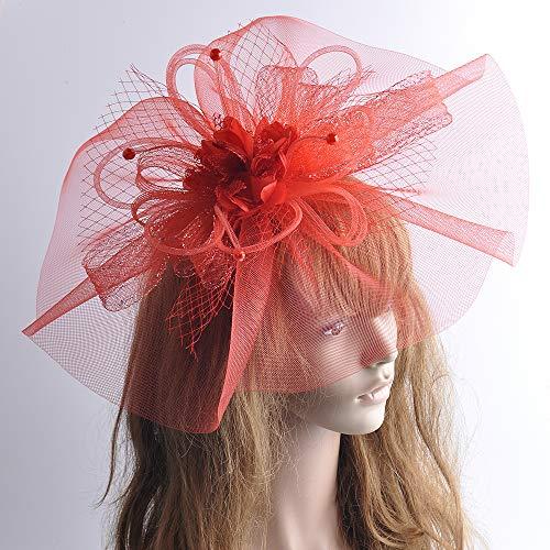 Lh$Yu Fascinator Hat Feder Mesh Net Veil Party Hat Ascot Hüte Blume Derby Hut Mit Clip und Haarband Für WOM,Red