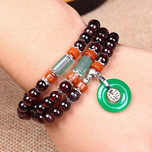 Daeou Armbänder für Damen Granat Armband Crystal Multi-Kreis Jade Fu Anhänger Hand Zeichenfolge -