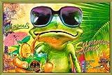 Poster mit Rahmen 61 x 91,5 cm, Grün - Cooler Frosch mit Sonnenbrille gerahmt - Antireflex Acrylglas