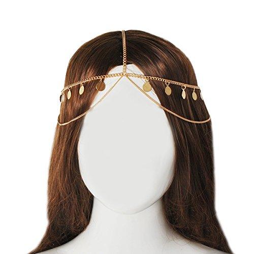 Jane Stone Damen Haarschmuck Boho Haarband goldfarbene Charms Festival Kopfschmuck Haarkette aus (Frauen Kostüme Genial)