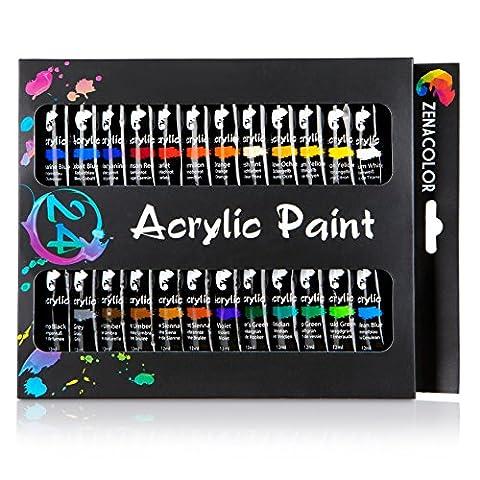 24 tubes de peinture acrylique Zenacolor - Pack de 24 x 12mL - Peinture acrylique de qualité supérieure et non toxique - 24 Couleurs uniques et différentes - Idéal pour débutant ou professionnel - Pigments riches et sèche rapide - Facile à peindre sur canvas, bois, céramique, argile, tissu, nail art, ou pour vos idées bricolage