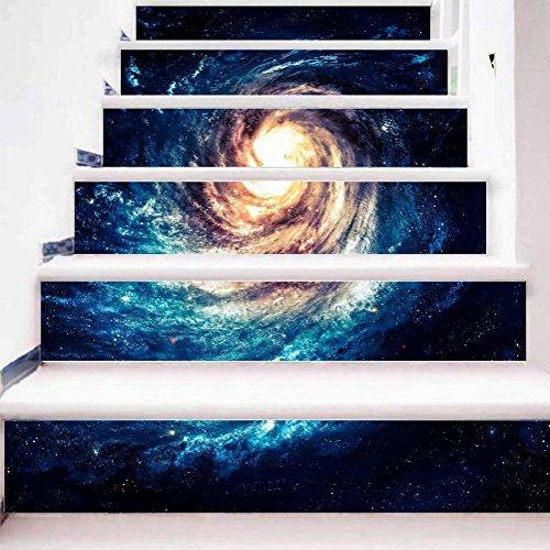 TBSHLT Sicherheitsmöbel DIY Treppe Aufkleber 3D Realistischer Whirlpool Sternenklarer Himmel Kombination Set Wandbilder HD Selbstklebend (1 Set 6/12/18 Pcs), 1 Set 12 pcs, 100 * 18cm