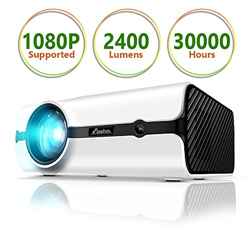 """ELEPHAS 2018 Upgraded Multimedia 170"""" LED Video Projector Support 1080P Portable Mini Movie Projector for Home Cinema Entertainment Parties Games"""