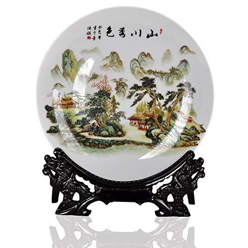 Dekorative Platte Mit Drachen Geformt, Alte China Green Mountain Und Wasser Malerei, Handgefertigte Weißer Keramik Kunst Dekoration Ornament Platten Für Display Wohnzimmer Tisch Einrichtung Wall-mount-plate Rack