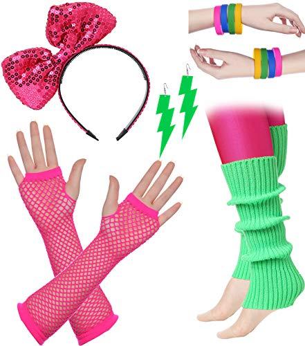 Kostüm 1980 Disco - ArtiDeco Damen 80er Jahre Zubehör 1980s Disco Party Kostüm Outfit Zubehör Set inklusive Stirnband Ohrringe Armbänder Beinlinge Fischnetz Handschuhe (Set-2)