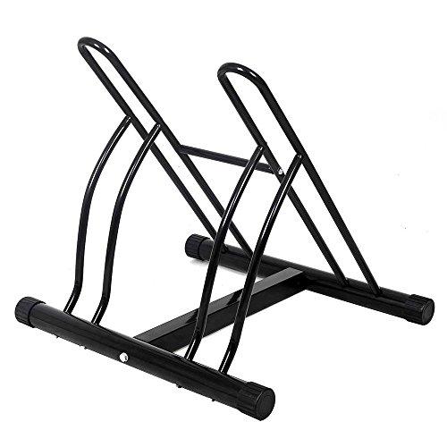 BAKAJI Rastrelliera per Biciclette 2 Posti Multipla da Pavimento Stand Parcheggio Esterno per Bici in Acciaio Porta Bici Colore Nero con Materiale di Montaggio Incluso