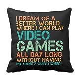 Emvency Couvre-lit Taie d'oreiller Funny Citation pour Jeux vidéo Geek et Joueur décoratifs Taie d'oreiller Home Decor Coussin carré Taie d'oreiller, Coton, Blanc, 18 x 18 inch