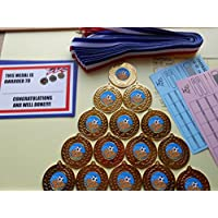 MAN OF THE MATCH FOOTBALL MEDALS SET OF 15-50MM METAL WITH RIBBONS AND CERTIFICATES