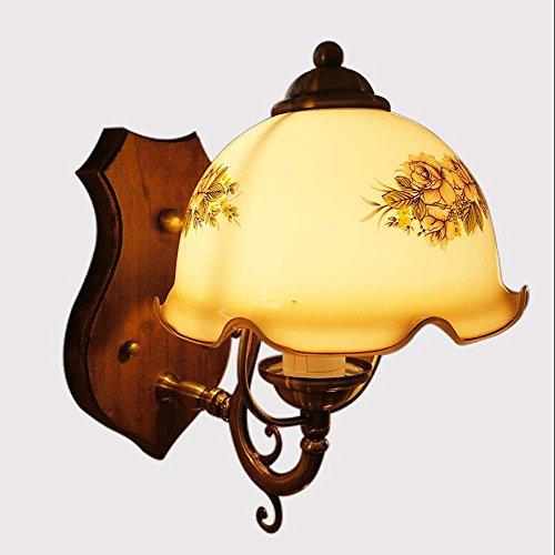 Retro Wandleuchte, verkupfert Arm LED Wandleuchte, kreative Persönlichkeit Schlafzimmer Kopfteil gedruckt Blume Glas Wandleuchte (E27 ohne Lichtquelle) (Blumen Led-zeichen)