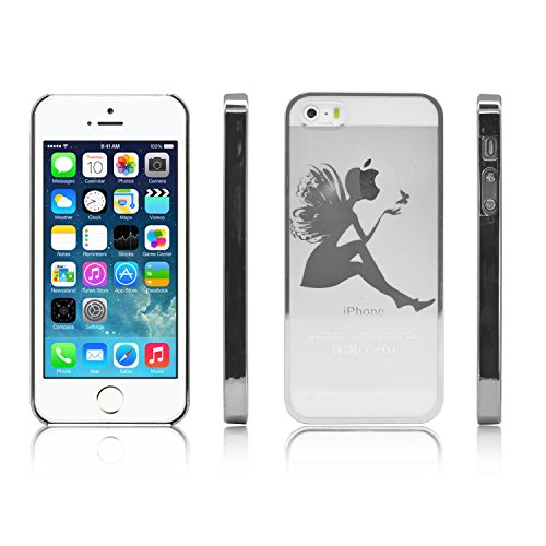 iProtect Schutzhülle Apple iPhone 5, 5s, SE Hülle Walking Dog Edition transparent pink Silber Butterflygirl