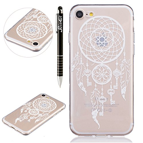 SainCat Coque Housse pour Apple iPhone 7,Transparent Coque Silicone Etui Housse,iPhone 7 Silicone Case Soft Gel Cover Anti-Scratch Transparent Case TPU Cover,Fonction Support Protection Complète Magné Campanula Key