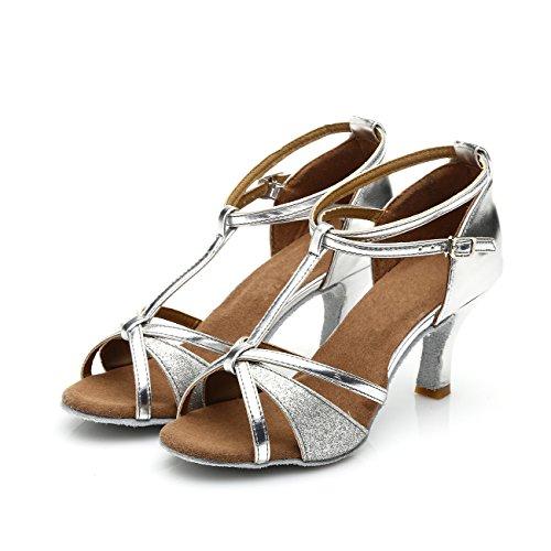 VESI - Damen Hoher Absatz Tanzschuhe Standard/Latein Silber 38(Absatz 5cm) - 3