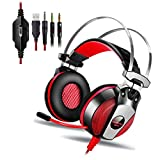KingTop PS4 PC 3.5mm Cuffie Gaming Stereo Con Microfono Bass LED Luce Cuffie Da Gaming Per Game PS4 PC Tablet Laptop Iphone Samsung Xiaomi LG Headset Gaming - Rosso