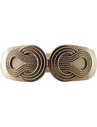 Cinturón de cintura ancha elastizada de las mujeres en diseño de hebilla trenzada de estilo vintage