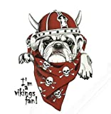 Gran pegatina transfer parche termoadhesivo perro vikingo para cazadoras, sudaderas, camisetas, bolsos...25 x 19 cm. de OPEN BUY