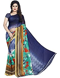 Anand Sarees Women's Faux Georgette Printed Green Color With Blouse Piece ( 1353 )